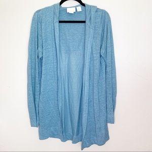 Cynthia Rowley 100% linen hooded long cardigan M
